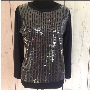 Navy Blue & Clear Sequin Sweater